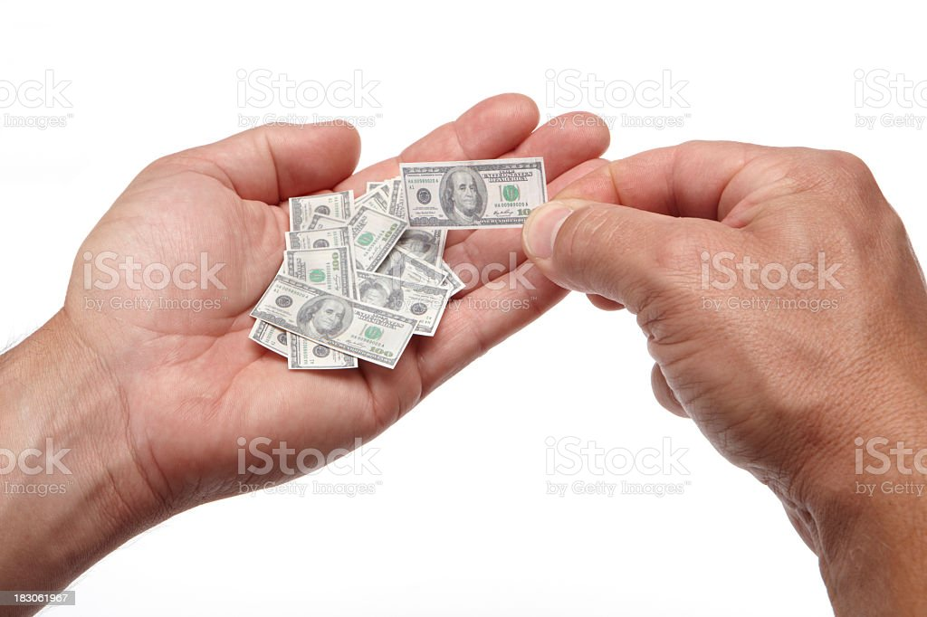 Shrinking savings in your hands stock photo