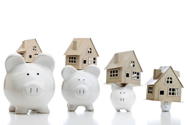 shrinking savings real estate concept - foreclosure stock pictures, royalty-free photos & images