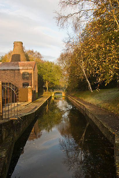Shropshire canal at dawn stock photo