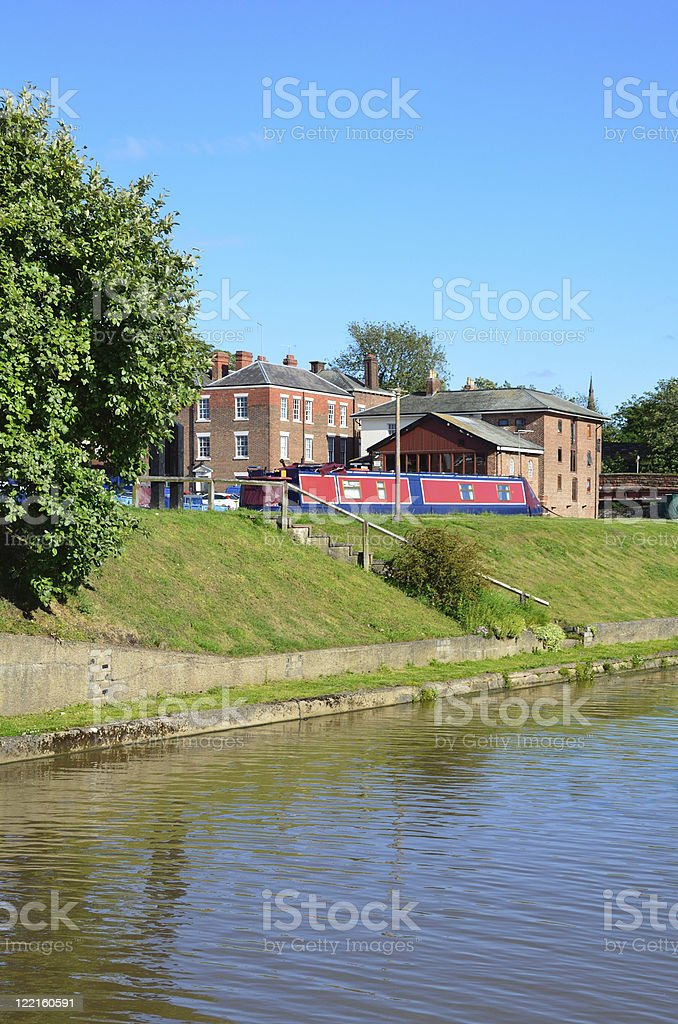 Shropshire Union Canal and Old Buildings in Chester royalty-free stock photo