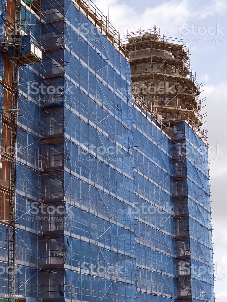 Shrouded in scaffolding royalty-free stock photo