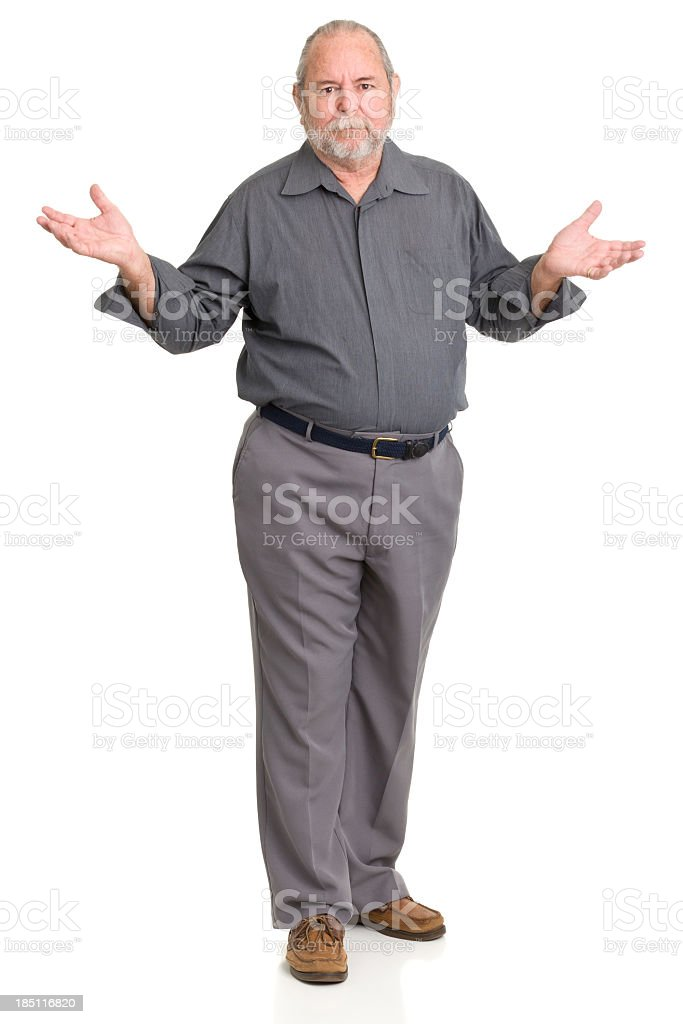 Shrugging Senior Man Standing stock photo