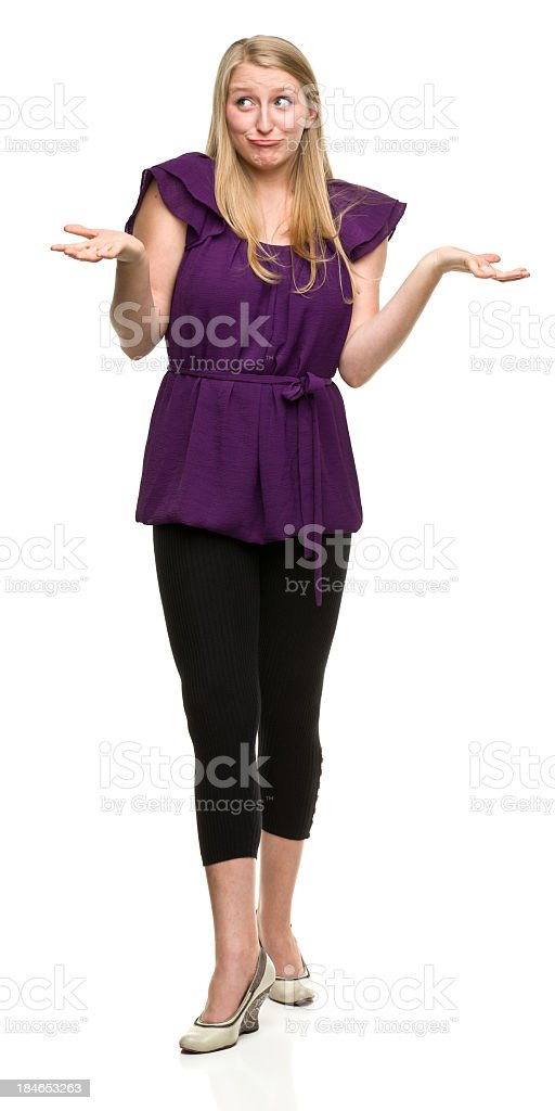 Shrugging Young Woman royalty-free stock photo