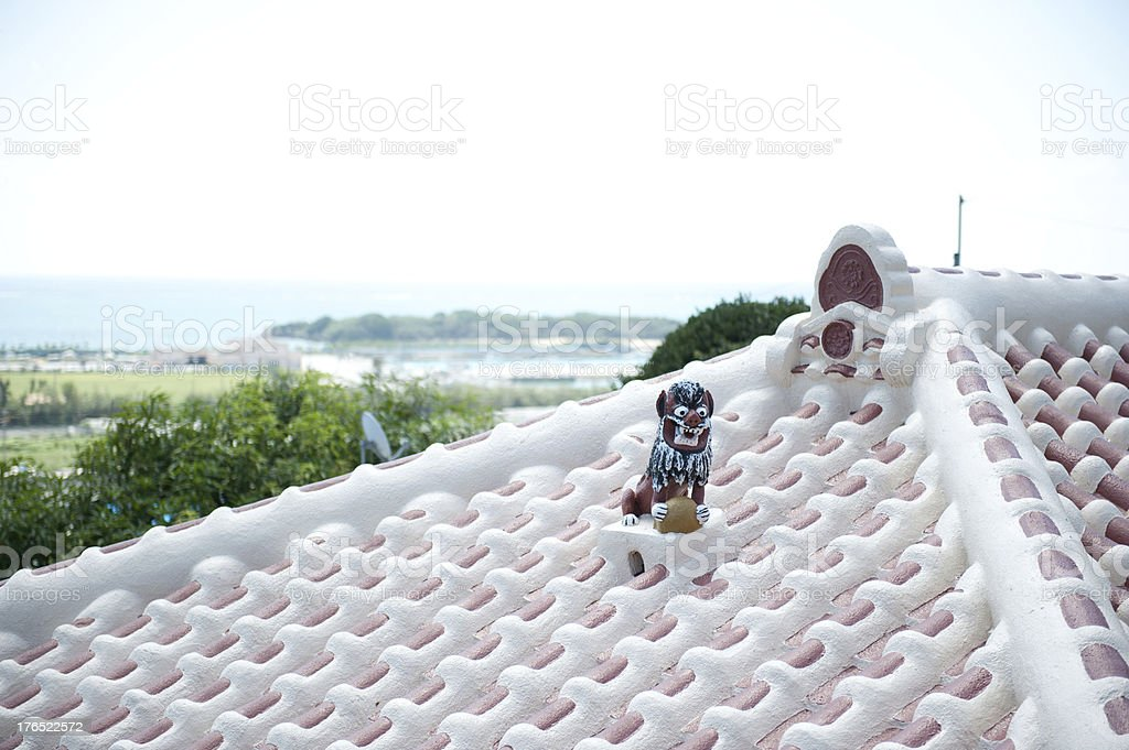 Shīsa and the roof in Okinawa stock photo