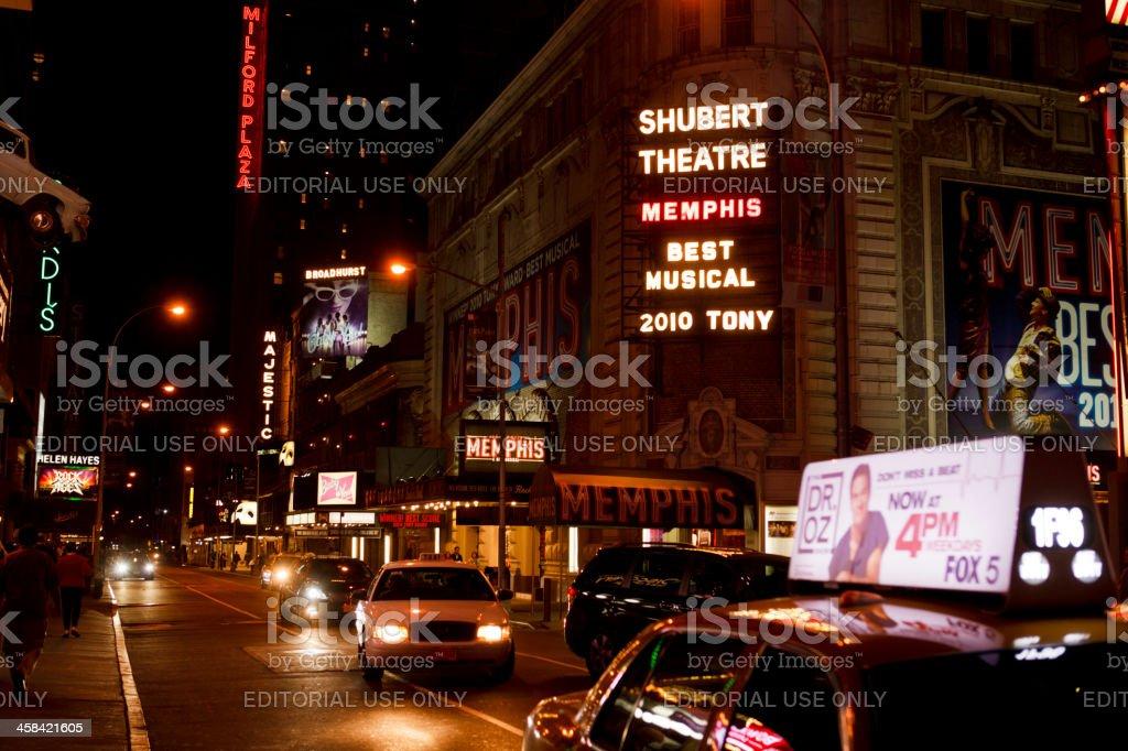 Shubert Broadhurst Majestic Theatres at Night New York City royalty-free stock photo