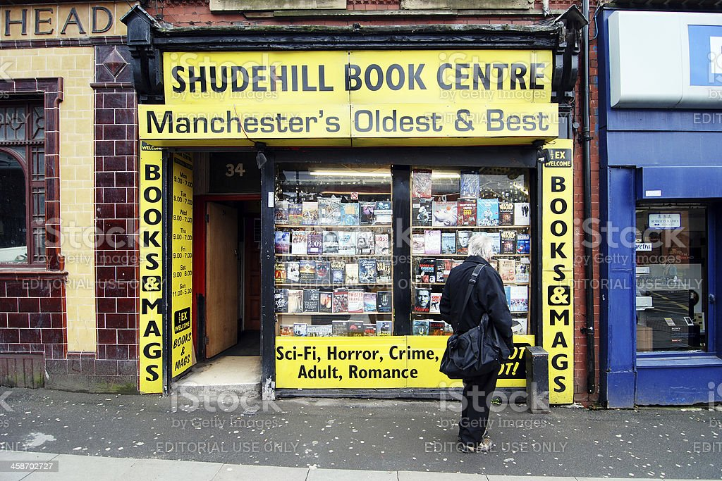 Shudehill Book Centre in Manchester stock photo