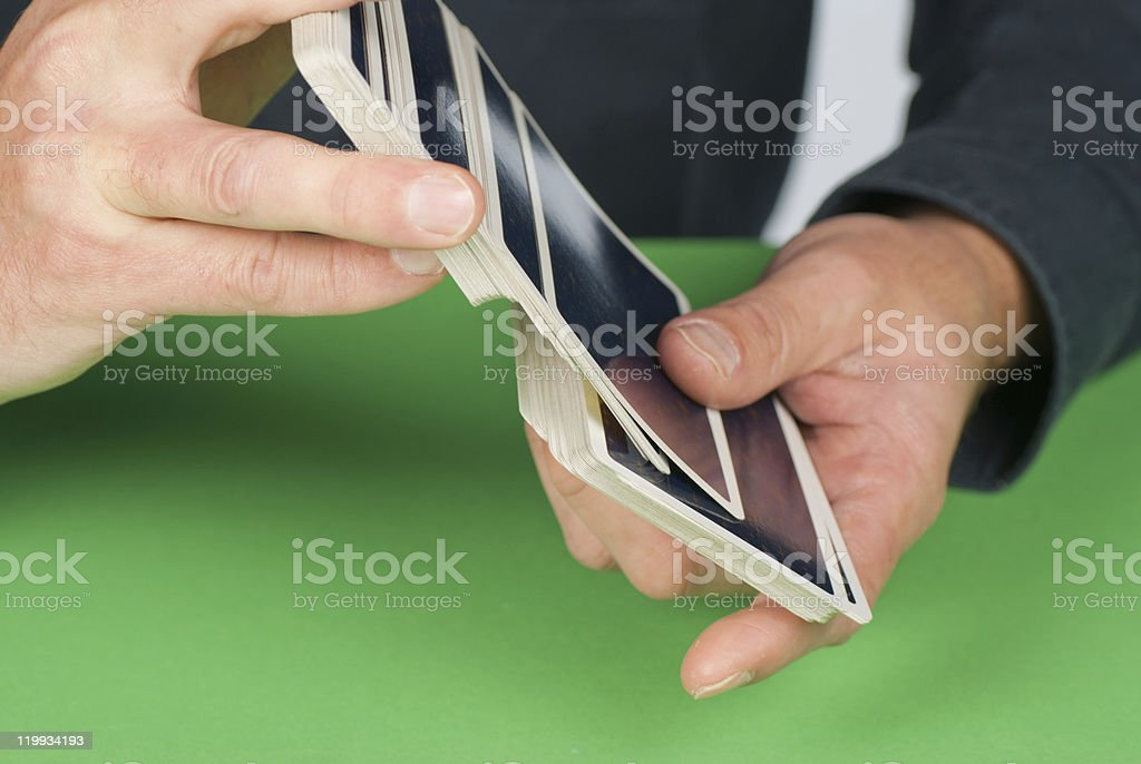 Shuffling cards royalty-free stock photo