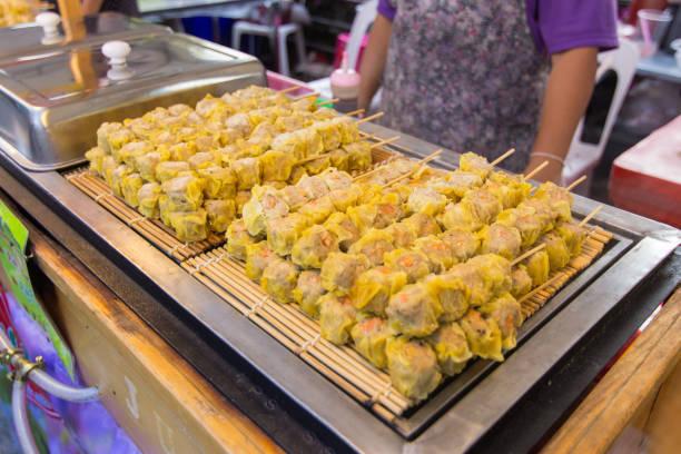 Shumai at street food, Chinese dumpling. stock photo