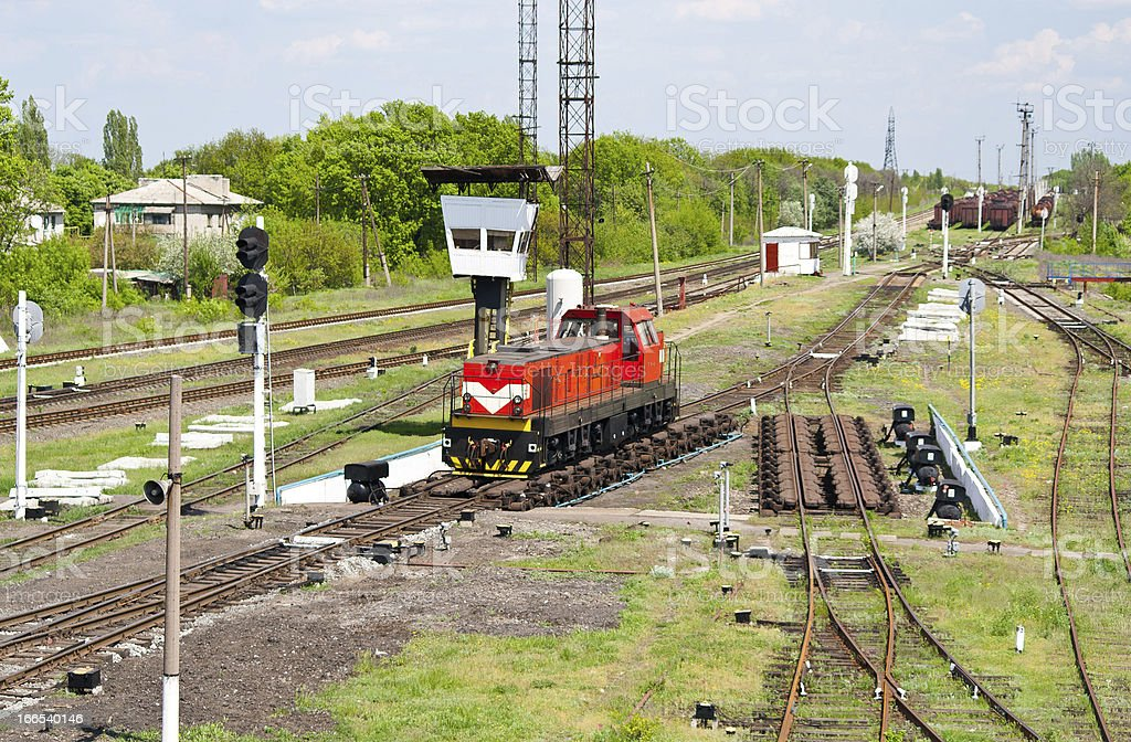 Shunter on a retarder of hump yard royalty-free stock photo