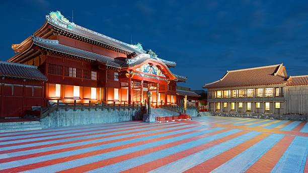 Shuri Castle in Okinawa Naha, Japan - November 12, 2012: The exterior of Shuri Castle in Okinawa, Japan was once the main Palace of the former Ryūkyū Kingdom. naha stock pictures, royalty-free photos & images