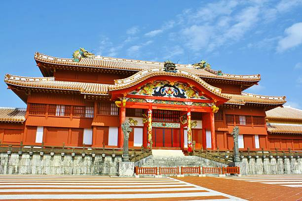 Shuri castle in Okinawa Okinawa, Japan - May 31, 2014: The Shuri Castle in Okinawa, Japan was a capital of Ryukyu kingdom. naha stock pictures, royalty-free photos & images