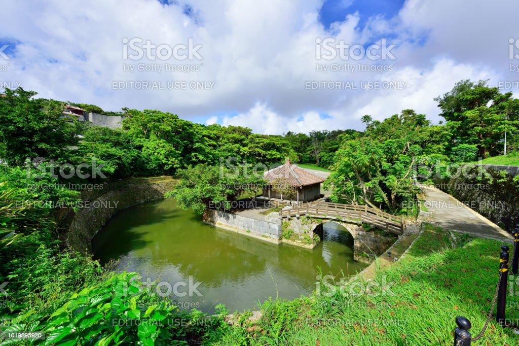 Shuri Castle's Garden, Naha, Okinawa, Japan Naha, Okinawa Prefecture, Japan - August 11, 2015 : The Shuri Castle's garden at sunny day, Here was once the capital of the Kingdom of Ryukyu. Naha, Okinawa. Ancient Stock Photo
