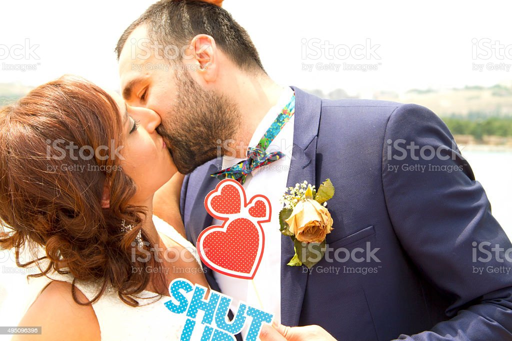 Shut up and kiss me stock photo