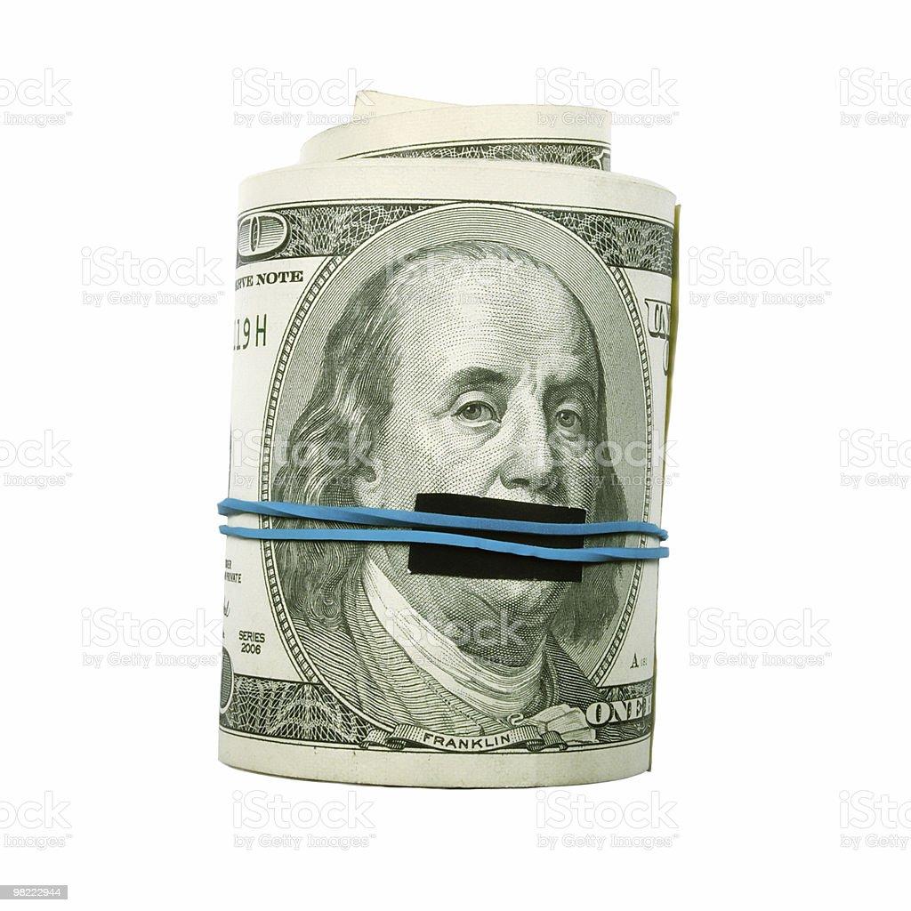Taci! Dollaro Presidente bocca coperta. foto stock royalty-free