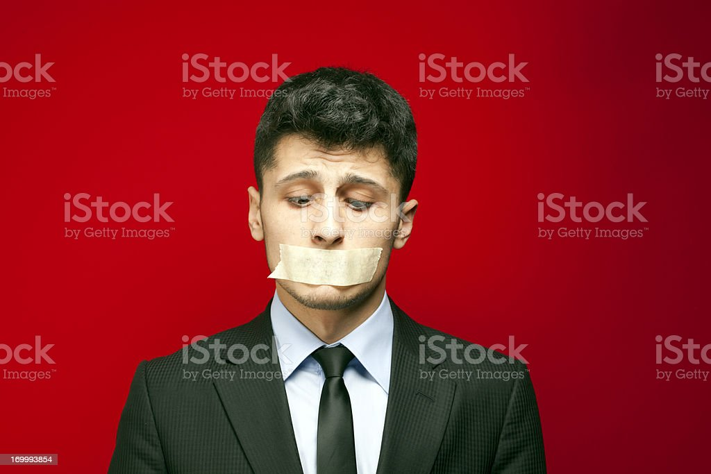 Shut Up! - Taped Mouth royalty-free stock photo