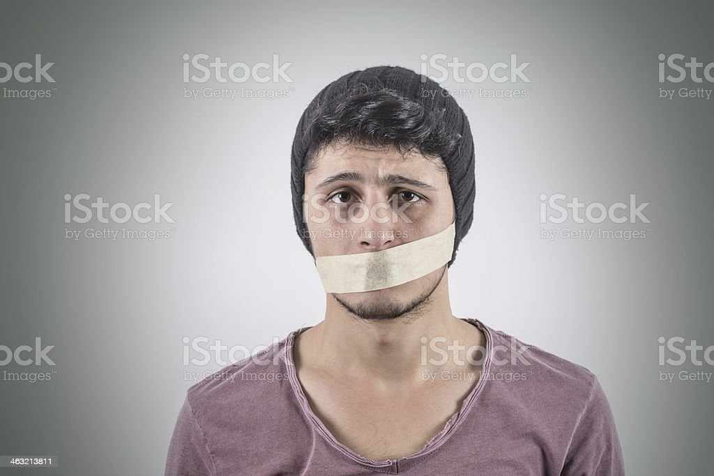 Shut Up! - Taped Mouth stock photo