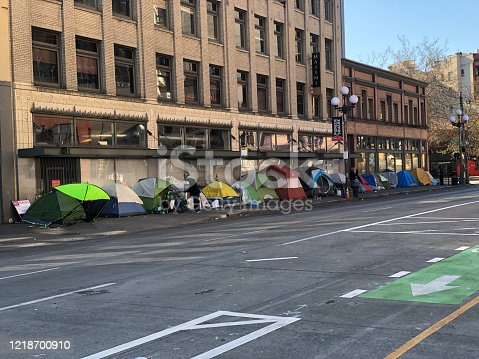 Tents lining the street in Seattle during the Covid-19 shutdown.