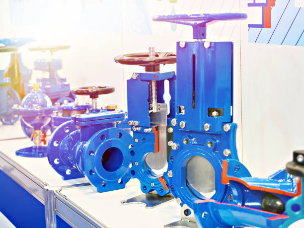 Shut-off valves for pipelines of water systems stock photo