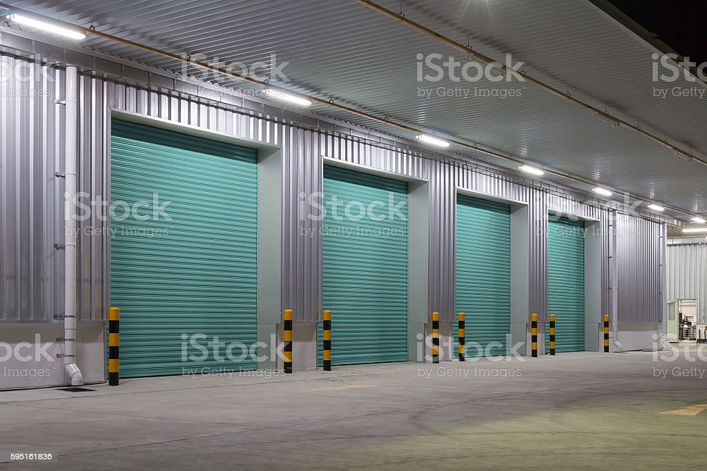 Shutter door night stock photo