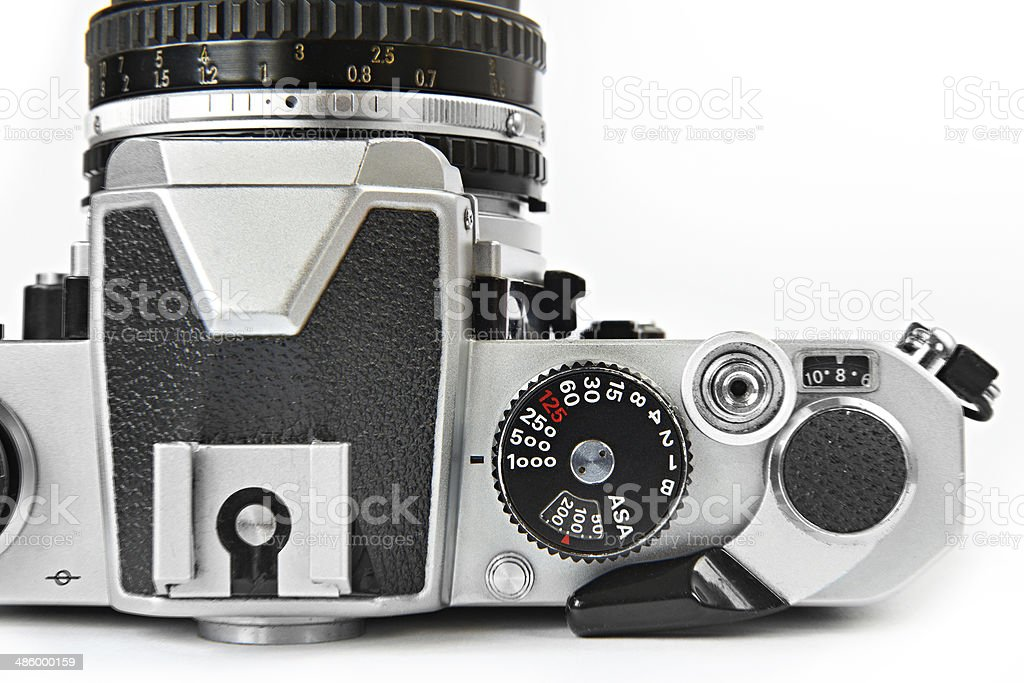 Shutter speed control dial of vintage SLR camera royalty-free stock photo