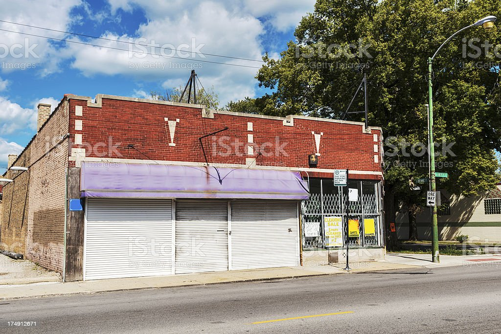 Shuttered commercial buildings in Avalon Park, Chicago royalty-free stock photo
