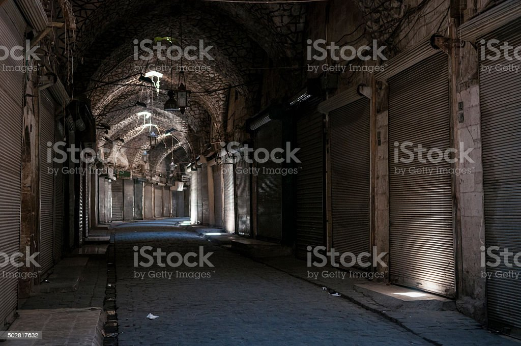 Shuttered shops in Aleppo, Syria stock photo