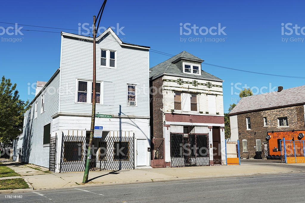Shuttered Victorian shop buildings in South Chicago royalty-free stock photo