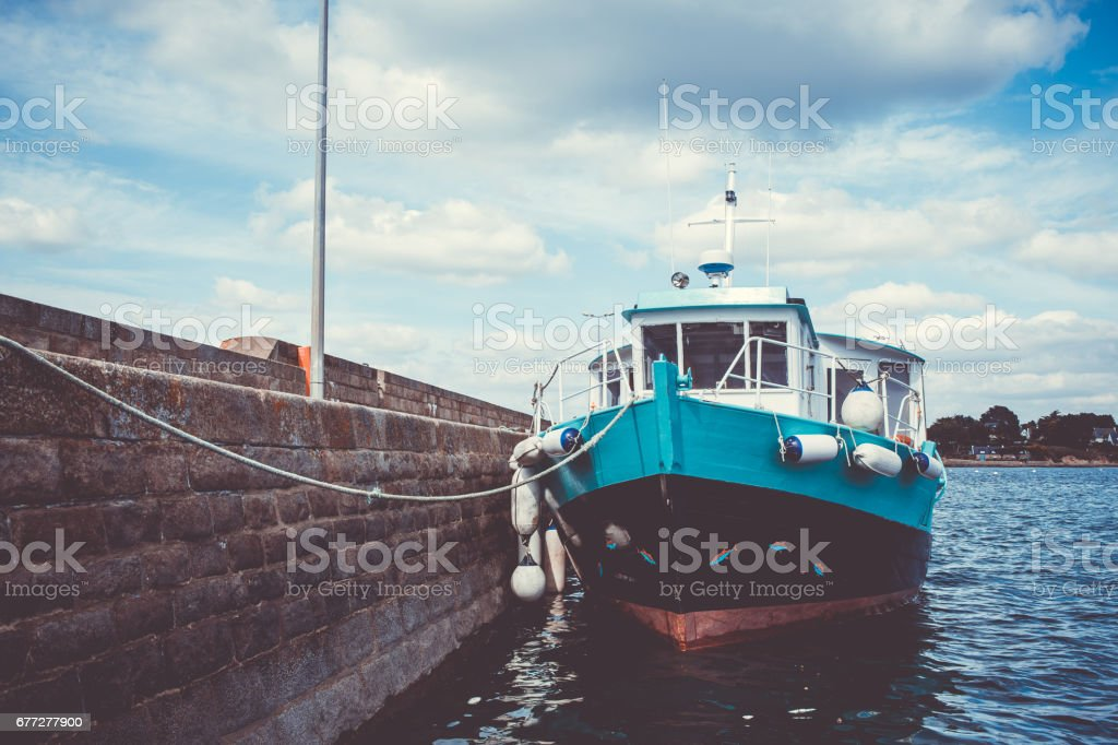 Shuttle Boat Mooring at the Dock stock photo