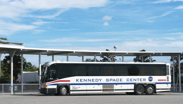 Shuttle Bus at Kennedy Space Center stock photo