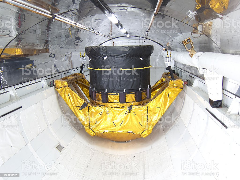 Shuttle Cargo Bay With a Satellite stock photo