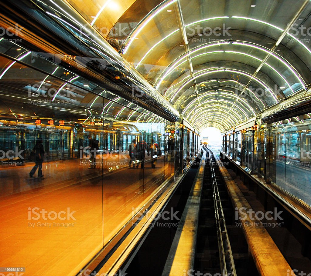 Shuttle train connecting terminals on the airport stock photo