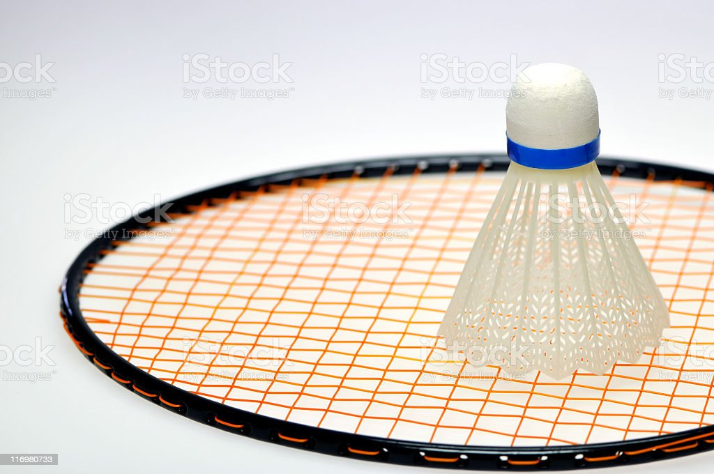 Shuttlecock and racket royalty-free stock photo