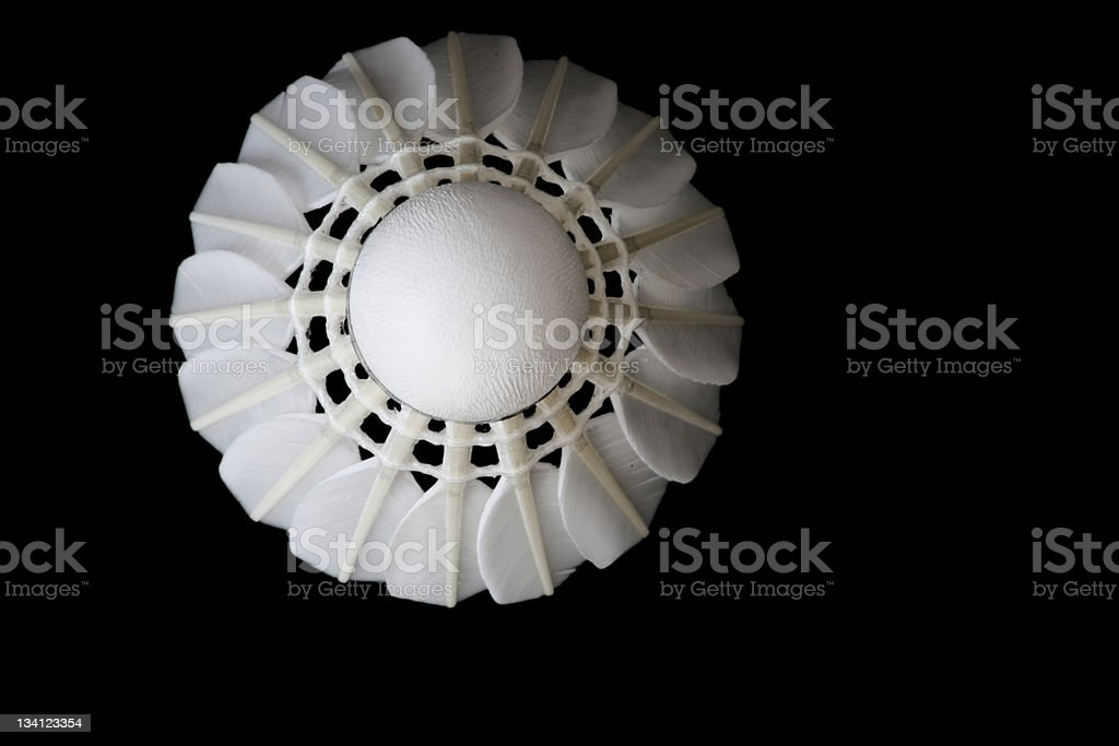Shuttlecock of badminton is coming right on you stock photo