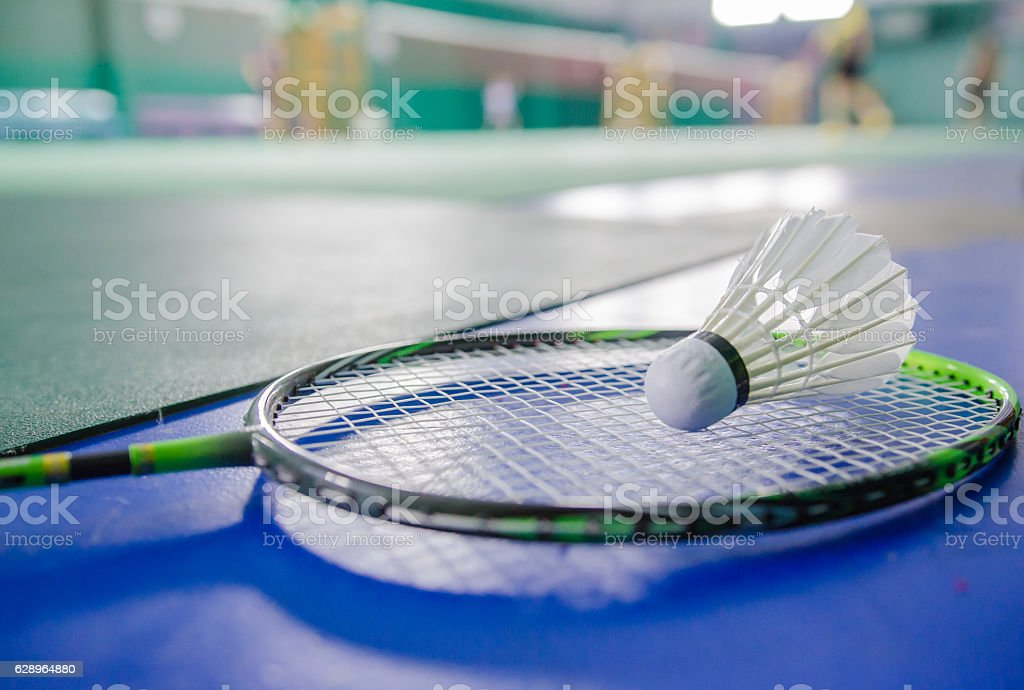 shuttlecock on badminton racket Soft-focus image stock photo