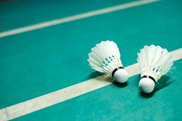 shuttlecocks on badminton playing court - badminton stock pictures, royalty-free photos & images