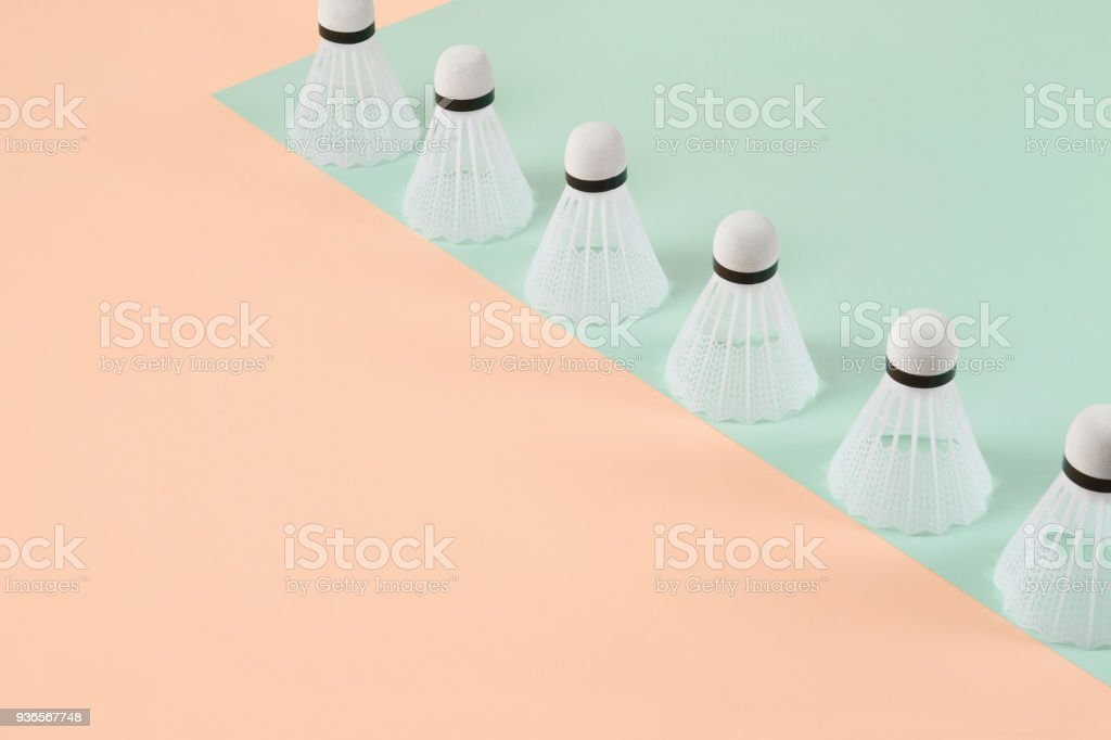Shuttlecocks on Pastel Background stock photo
