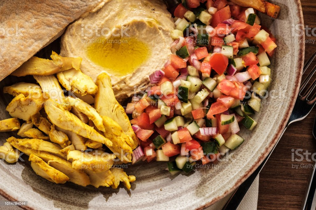 Shwarma in a plate with hummus and salad. стоковое фото