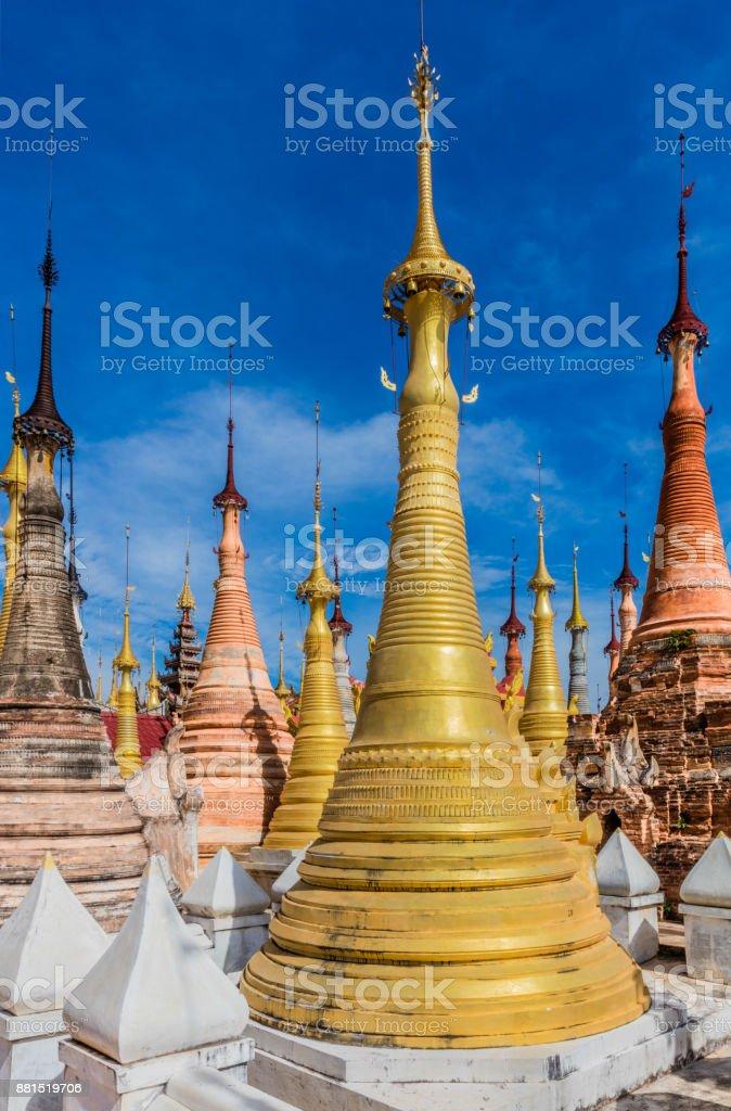 Shwe Inn Dein Pagoda Inle Lake Shan state Myanmar stock photo