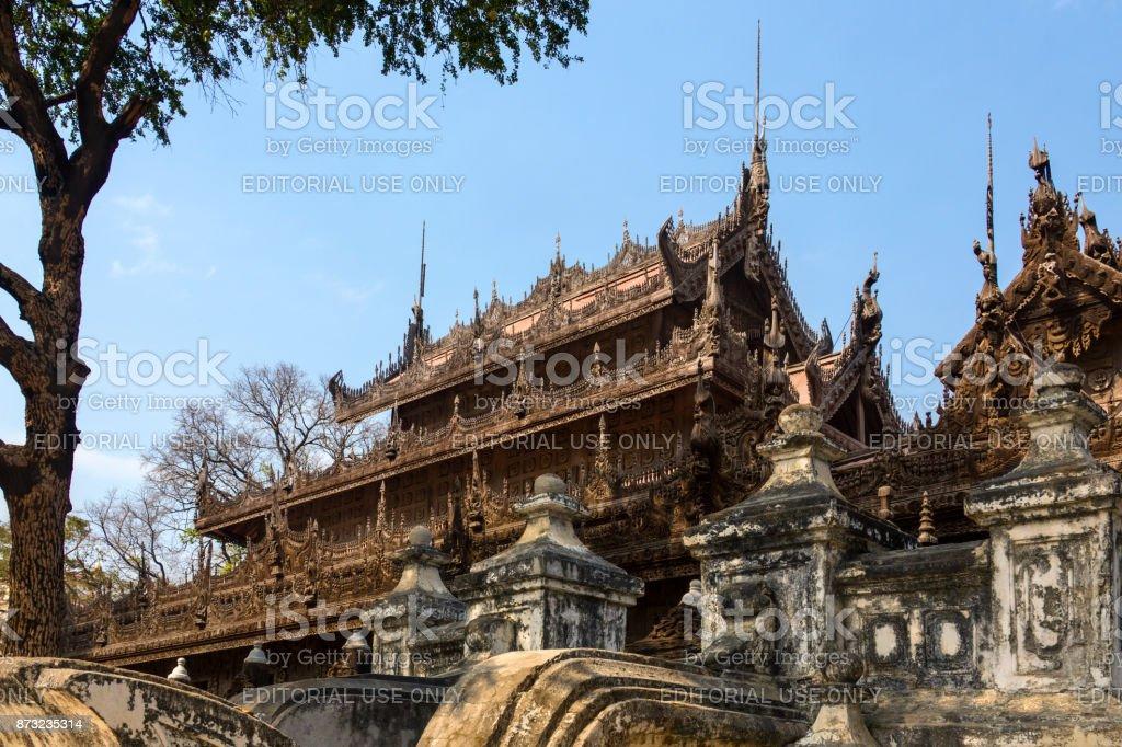 Shwe Nandew Buddhist Monastery near Mandalay - Myanmar stock photo