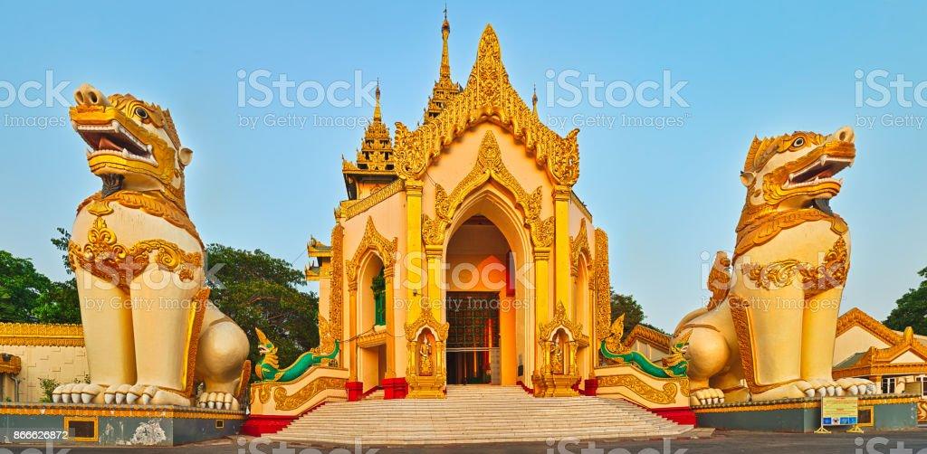 Shwedagon complex in Yangon. Myanmar. stock photo
