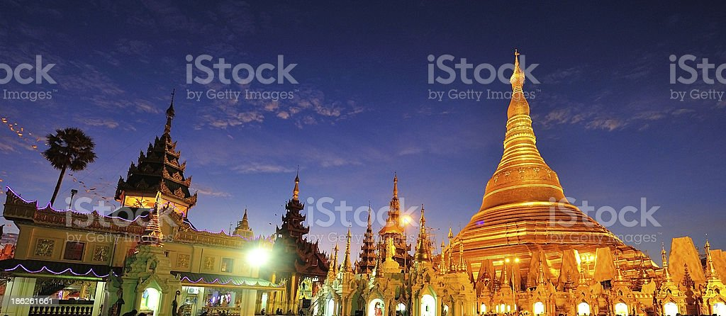 Shwedagon golden pagoda at twilight, Yangon,Myanmar stock photo