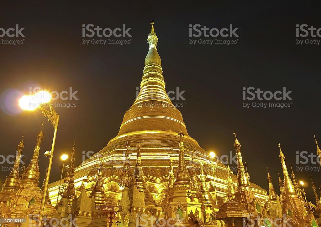 Shwedagon golden pagoda in Yangon, Myanmar (Burma) royalty-free stock photo