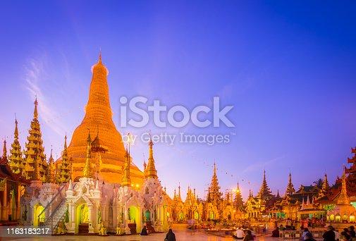 Shwedagon Pagoda at dusk, Yangon, Myanmar