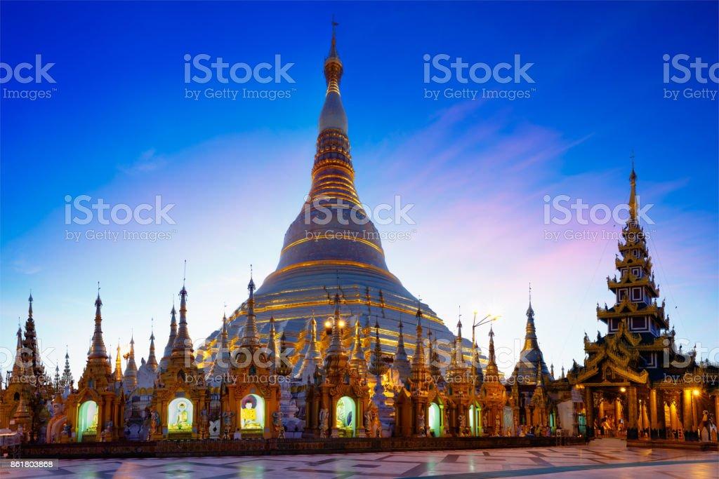 Shwedagon pagoda at dusk stock photo