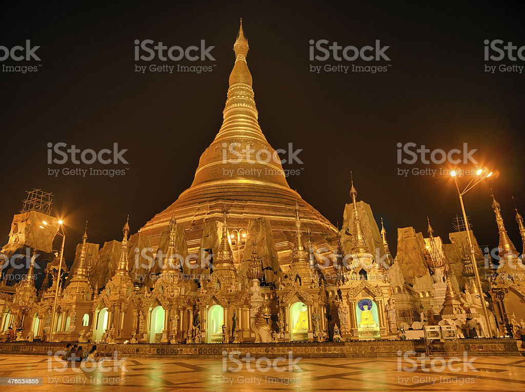 Shwedagon Pagoda at Nighht royalty-free stock photo
