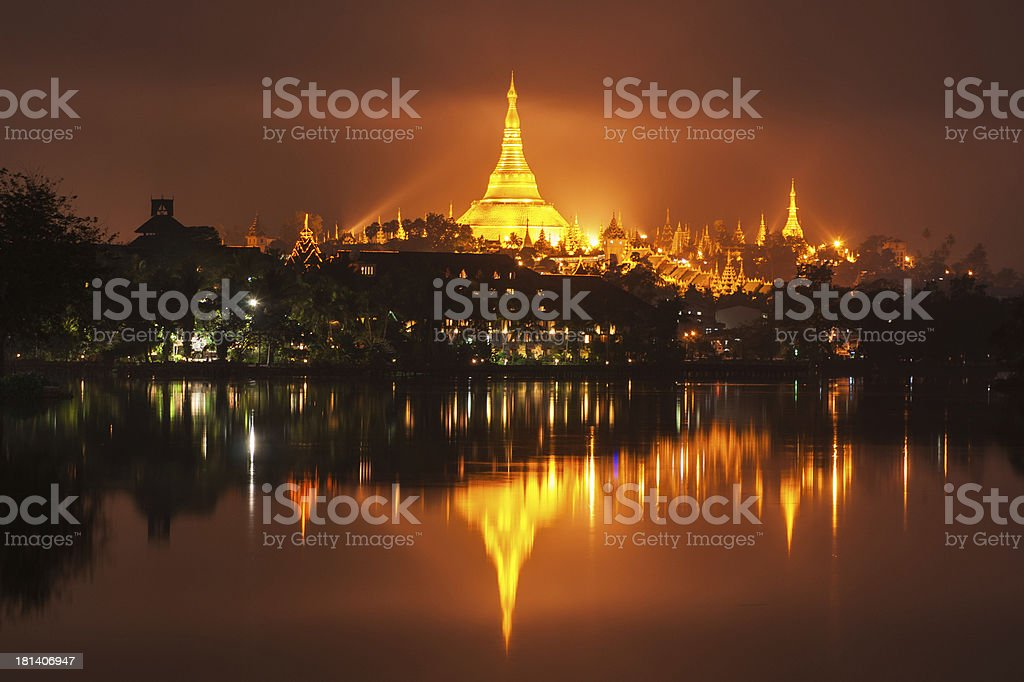 Shwedagon Pagoda at night in Yangon, Myanmar royalty-free stock photo