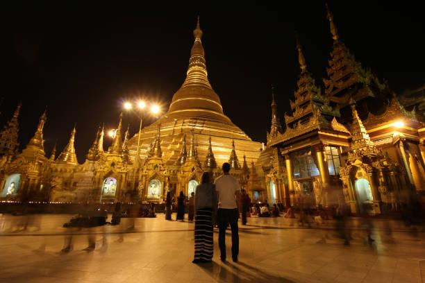 Shwedagon Pagoda at night stock photo