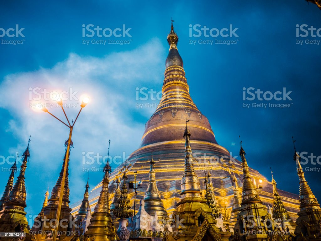 Shwedagon Pagoda at night Yangon Myanmar stock photo