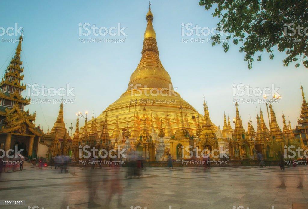 Shwedagon Pagoda in long exposure, Yangon-Myanmar stock photo