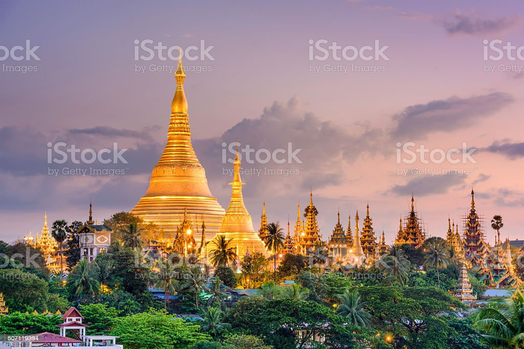 Shwedagon Pagoda in Myanmar stock photo